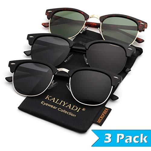 kaliyadi - lentes de sol polarizados para manejar marco semi