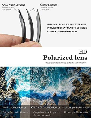 kaliyadi lentes de sol polarizados para manejar marco semirr