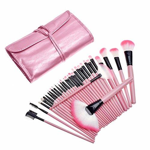 kancai 32pcs pinceles maquillaje rosa set profesional maquil