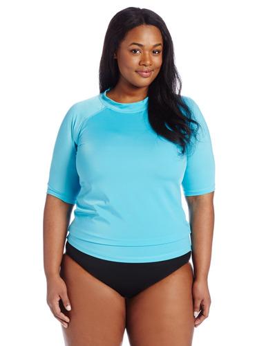 kanu surf mujer de mayor tamaño breeze rash guard, aqua, 1x
