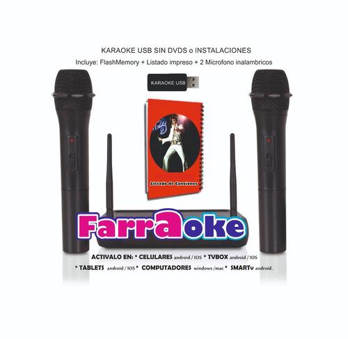 karaoke profesional usb 7700 temas 2 micrófonos inalambricos