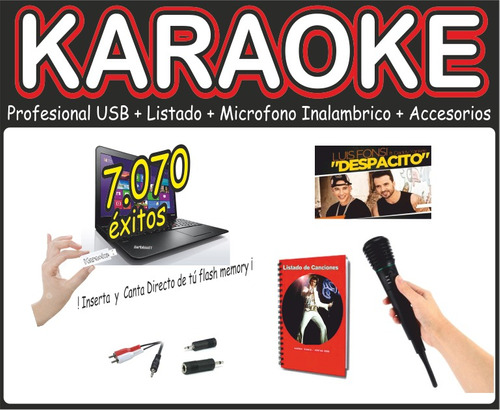 karaoke profesional usb + microfono inalambrico + 2 listados