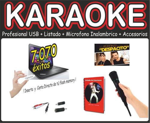 karaoke profesional usb + microfono inalambrico + listado