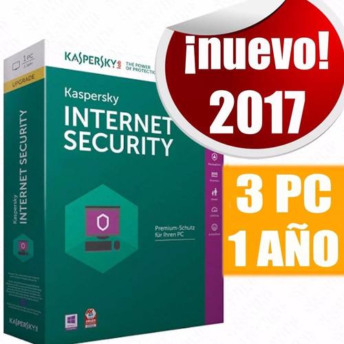 kaspersky anti-virus 2017 3 pc 1 año