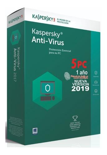 kaspersky antivirus 2019 5 pc 1 año