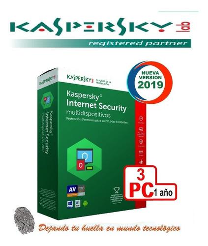 kaspersky internet security 3 pc 1 año original