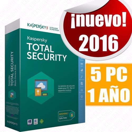 kaspersky total security 2016 5 pc - 1 año licencia digital