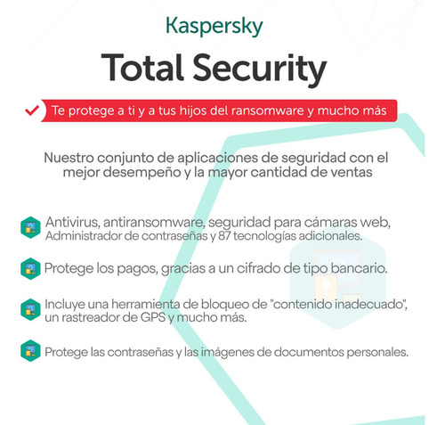 kaspersky total security 5 pc 1 año licencia original