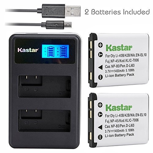 kastar battery (x2) & lcd dual charger for fujifilm np-45, n