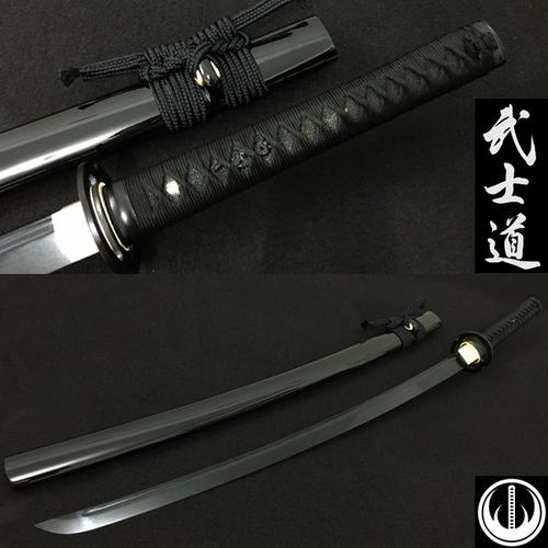 katana lâmina negra espada corte afiada aço dobrado