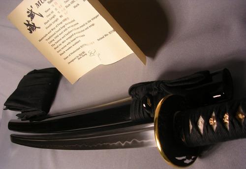 katana musashi gold ring 100% funcional full tang espada