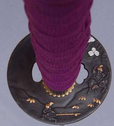 katana samurai purple tokushima cuchilla al carbon c/filo.