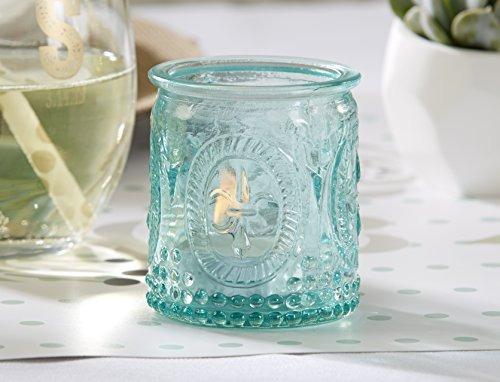 kate aspen de la vendimia de cristal azul portacandelitas (
