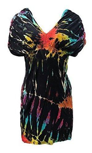 kathmandu imports tie dye túnica mini vestido playa cubierta