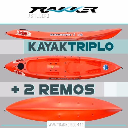 kayak atlantikayak modelo triplo + 2 remos