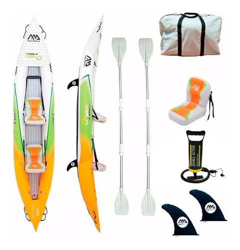 kayak canoa inflable 2 pers aqua marina + salvavidas hm 412