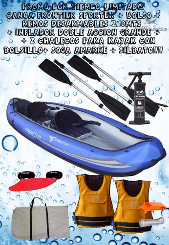 kayak canoa inflable frontier completa 2 persona emp nautica