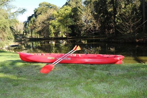 kayak con remos 2 personas con tambucho rojo garden life