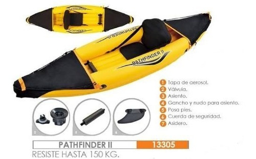 kayak inflable reforzado 1 persona bote ecology