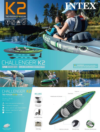 kayak intex challenger k2 inflable 2 personas con remos.