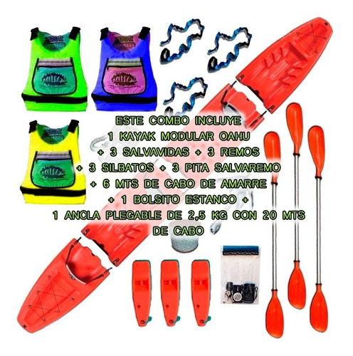 kayak modular triple oahu de sportkayaks c3 con envio gratis
