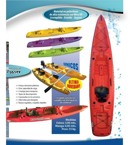 kayak rocker twin c1 free terra, local en palermo