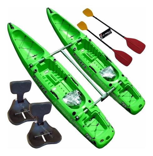 kayak rocker twin kit catamaran 2 remos asientos