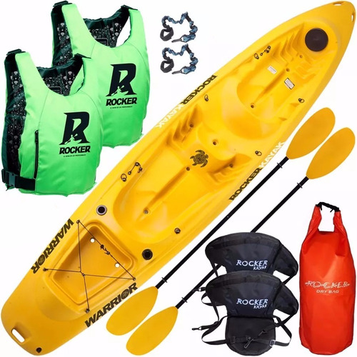 kayak rocker warrior 2 salvavidas 2 asientos bolso estanco