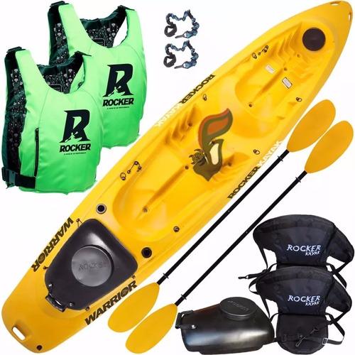 kayak rocker warrior 2 salvavidas 2 asientos tambucho pitas