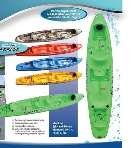 kayak rocker warrior 3 pers. c5 local palermo envio gratis