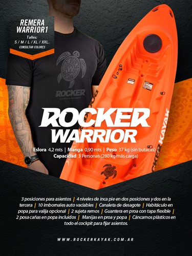 kayak rocker warrior 3 pers. c9 local. envio gratis!