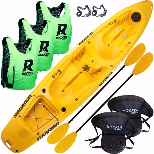 kayak rocker warrior 3 salvavidas 2 asientos bolso estanco