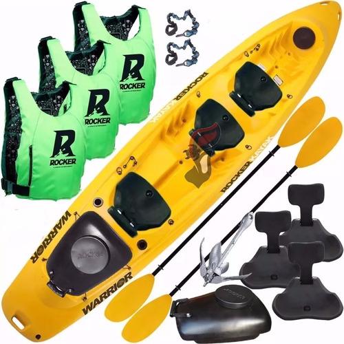 kayak rocker warrior 3  salvavidas 3 butacas tambucho ancla