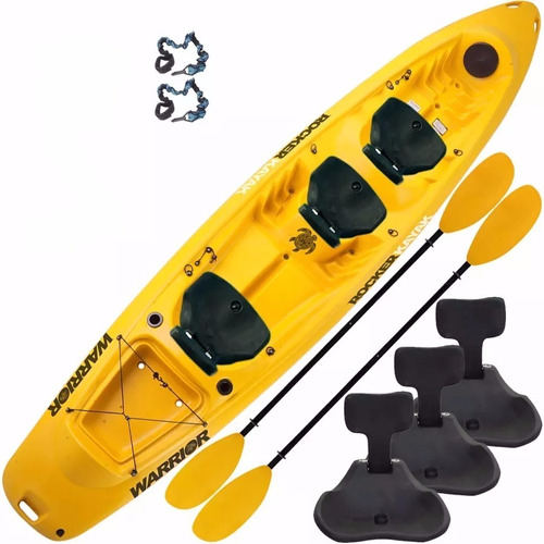 kayak rocker warrior triplo 2 remos 3 butacas rigidas