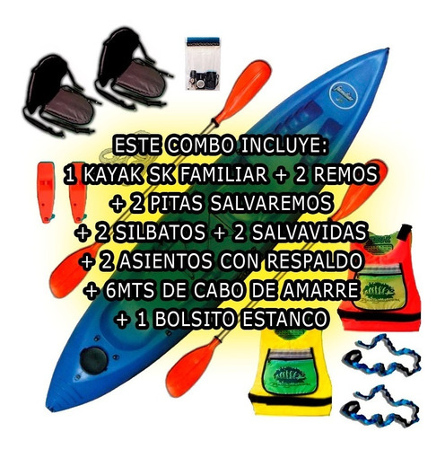 kayak sportkayaks sk familiar 3 pers. triplo c2 envio gratis