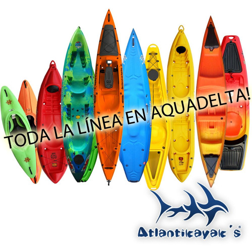 kayak triplo + 2 remos + soga 4m atlantic kayaks doble pesca