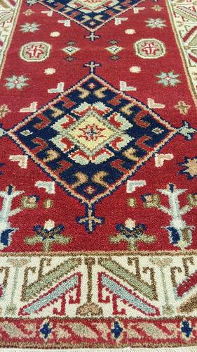 kazak fino 138x75cm artesanal legitimo tapete persa +certif