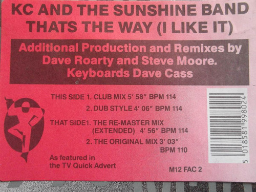 kc & the sunshine band -thats the way (i like it) 4 tracks
