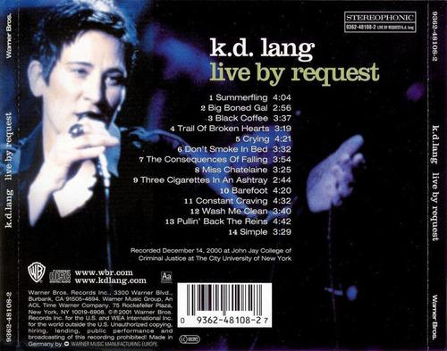 k.d. lang live by request cd nuevo cerrado importado germany