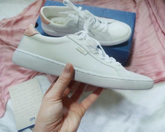 269713220 Kd1117204 - Tênis Keds Ace Leather Satin Branco Rosa - R$ 120,00 em ...