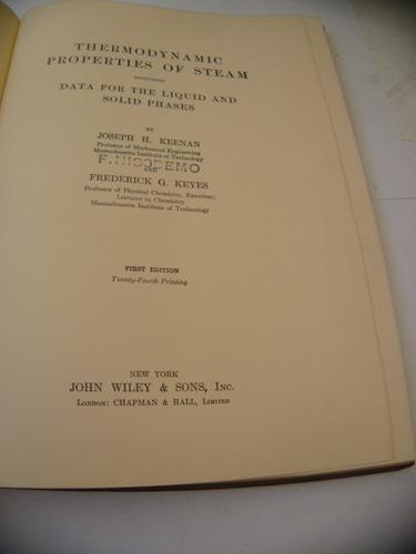 keenan,thermodynamic properties of steam. 1936