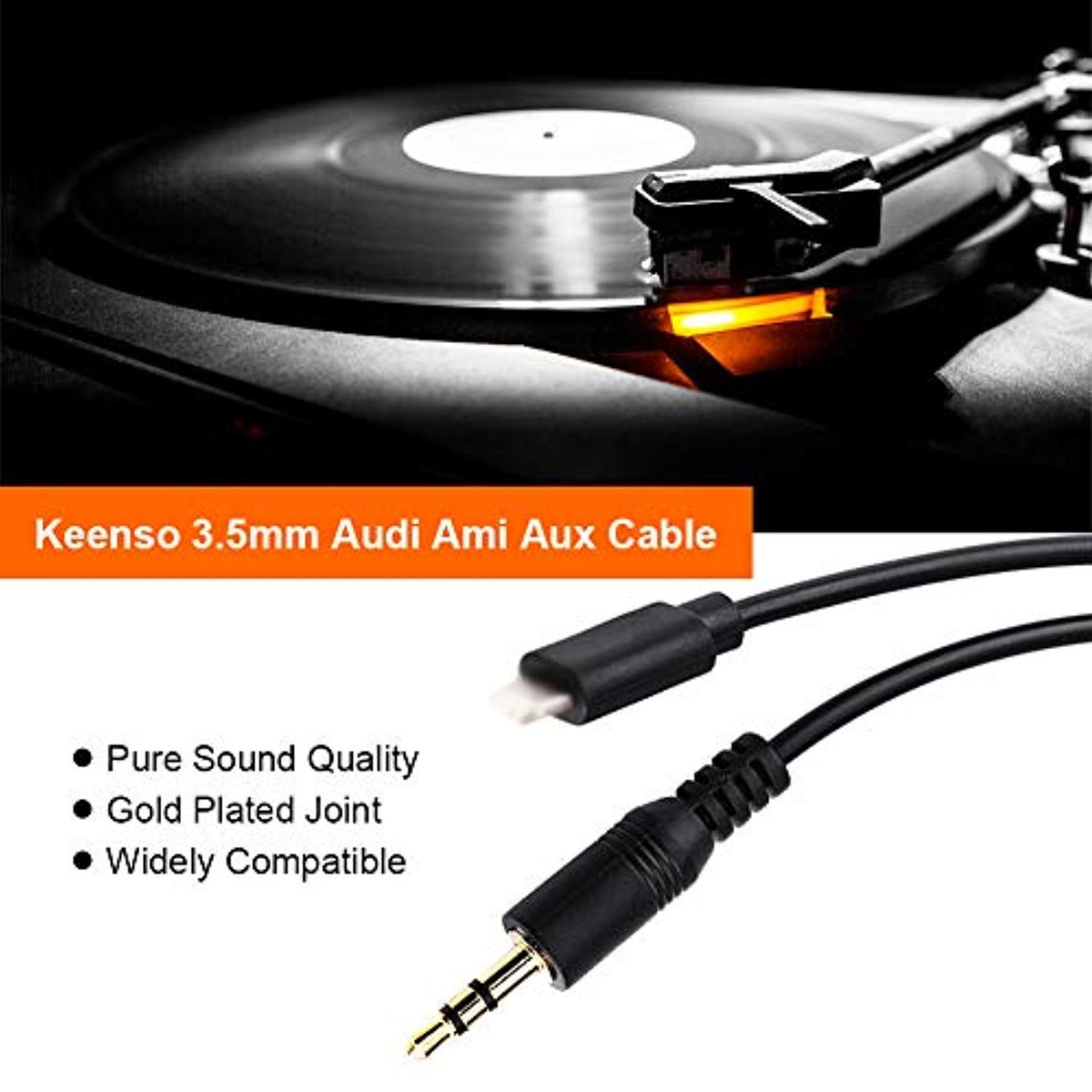 Volkswagen Keenso 3.5mm Music Interface AMI MDI MMI AUX Cable Adapter Auxiliary Audio Adapter MP3 Cord for Audi A6L//Q5//Q7//A8//S5//A5//A4L//A3 iPod iPhone 5//6