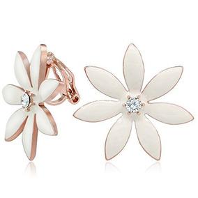 retro calidad mejores telas Kemstone Rose Flor De Oro Clip En Aretes Para Las Mujeres