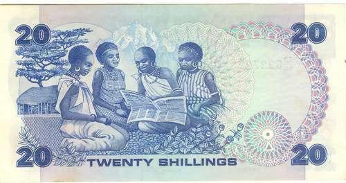 kénia - cédula de 20 shilling, 1.1.1982, p-21b, fe.