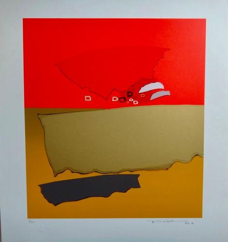 kenji fukuda - composição beige e vermelha - japan brazil