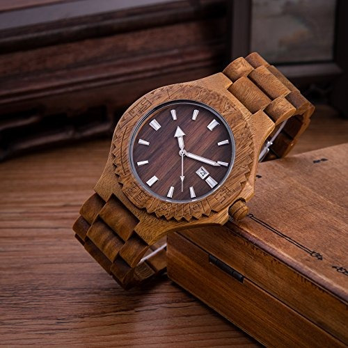 078cc8747861 Kenon Mens Wood Watch Sándalo Verde Japón Miyota Movement ...