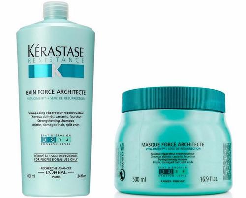 kérastase architecte resistance shampoo e máscara 500g- kit