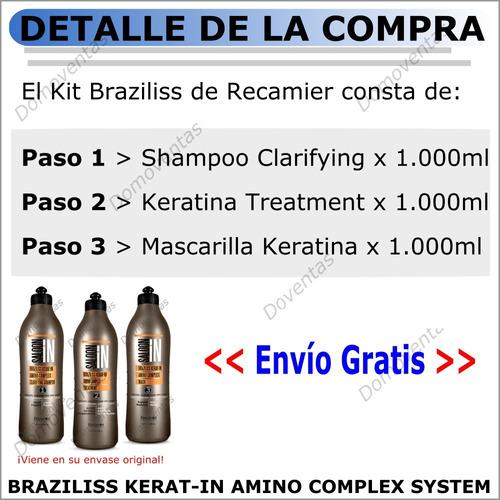 keratina alisadora braziliss recamier kit litros-sin formol