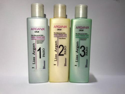 keratina alisante arganix 500ml 3pasos(se lava el mismo día)