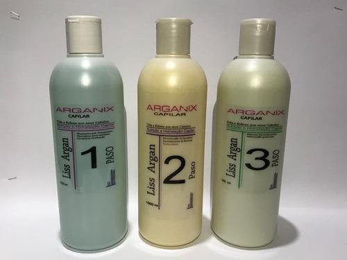 keratina arganix 3pas kit 1lt, alisante argan, brasil cacau,